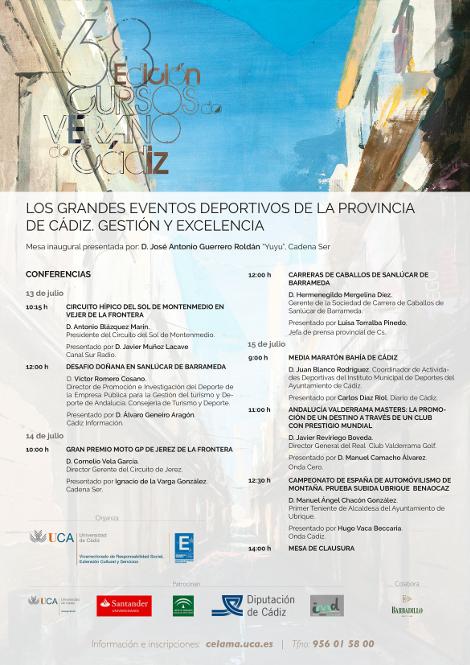 """Seminario: """"Los grandes eventos deportivos de la provincia de Cadiz. Gestion y excelencia"""""""
