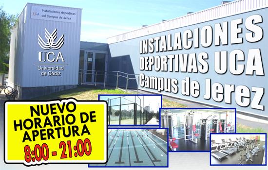 Nuevo horario de apertura de las Instalaciones Deportivas UCA del Campus de Jerez