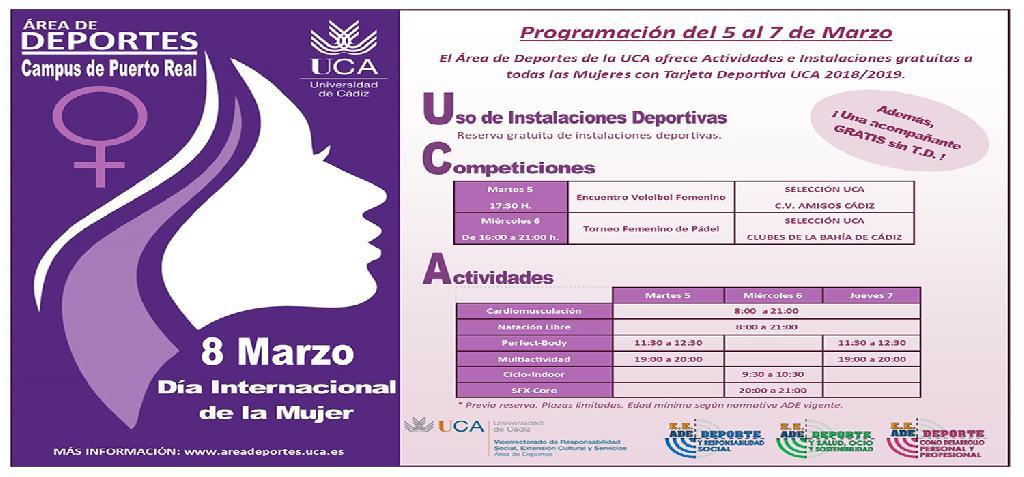 El Área de Deportes de la UCA celebra el Día Internacional de la Mujer con diversas actividades gratuitas