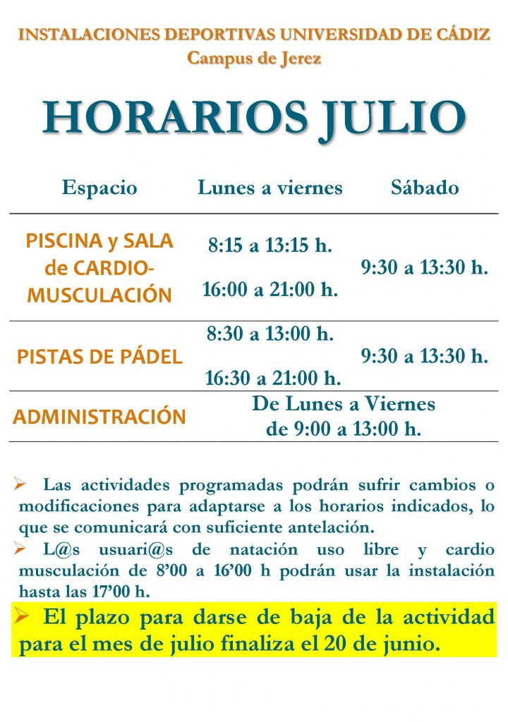 Horaio Julio 2019 Campus de Jerez