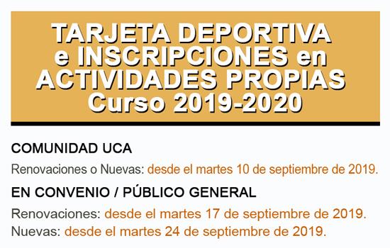 TARJETA DEPORTIVA e INSCRIPCIONES en Actividades Propias Curso 2019-2020