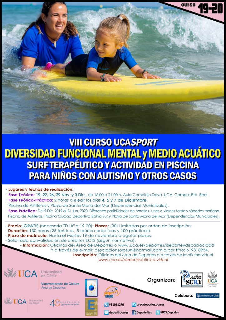 VIII Curso UCASport Diversidad Funcional Mental y Medio Acuático