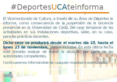 IMG Cese temporal de las Actividades Deportivas de la Universidad de Cádiz